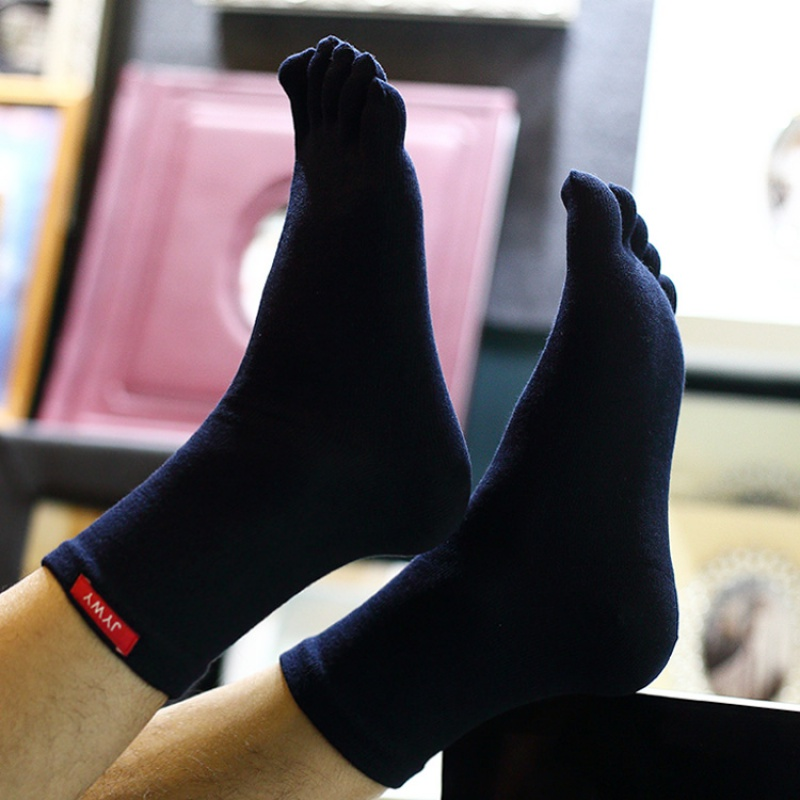 タオバオ仕入れ代行-ibuy99|五指袜|大码男士秋冬纯棉中筒精梳棉五指分脚趾袜子舒适耐磨吸湿全棉吸汗