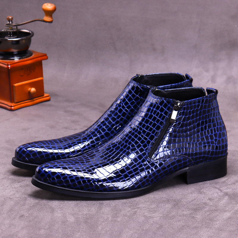 Summer new trend low top leather embossed zipper leather large business pointed Martin boots mens shoes