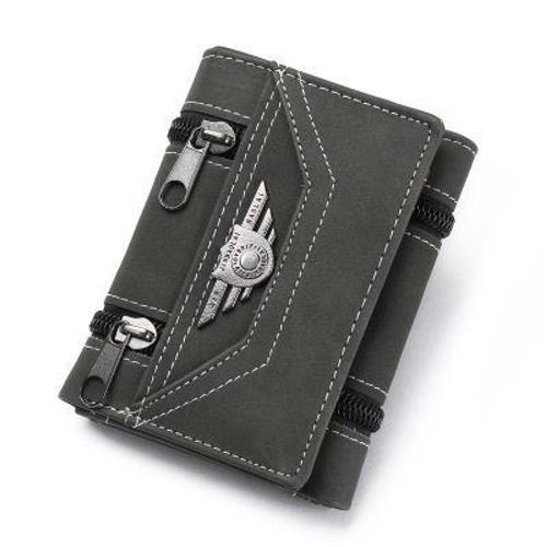 。钱包男士短款竖款三折男式钱夹学生新款商务青年潮流时尚个性皮