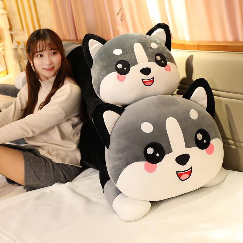 床上玩偶哈士奇熊二狗可爱腿夹抱枕
