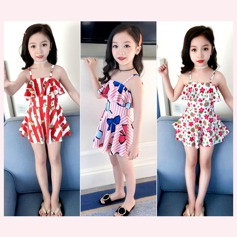 Childrens swimsuit female swimsuit one piece princess skirt baby swimsuit cute girl swimsuit childrens middle school and senior high school children