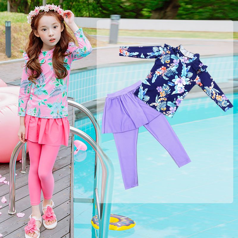 Korean fashion childrens swimsuit, womens long sleeve pants, split body baby, little boy, middle and big boy, hot spring swimsuit student