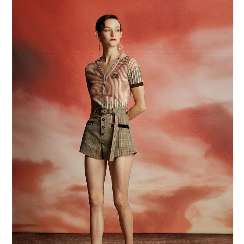 Ocean flame short sleeve top 2020 summer fashion slim V-neck contrast stripe knitted T-shirt for women