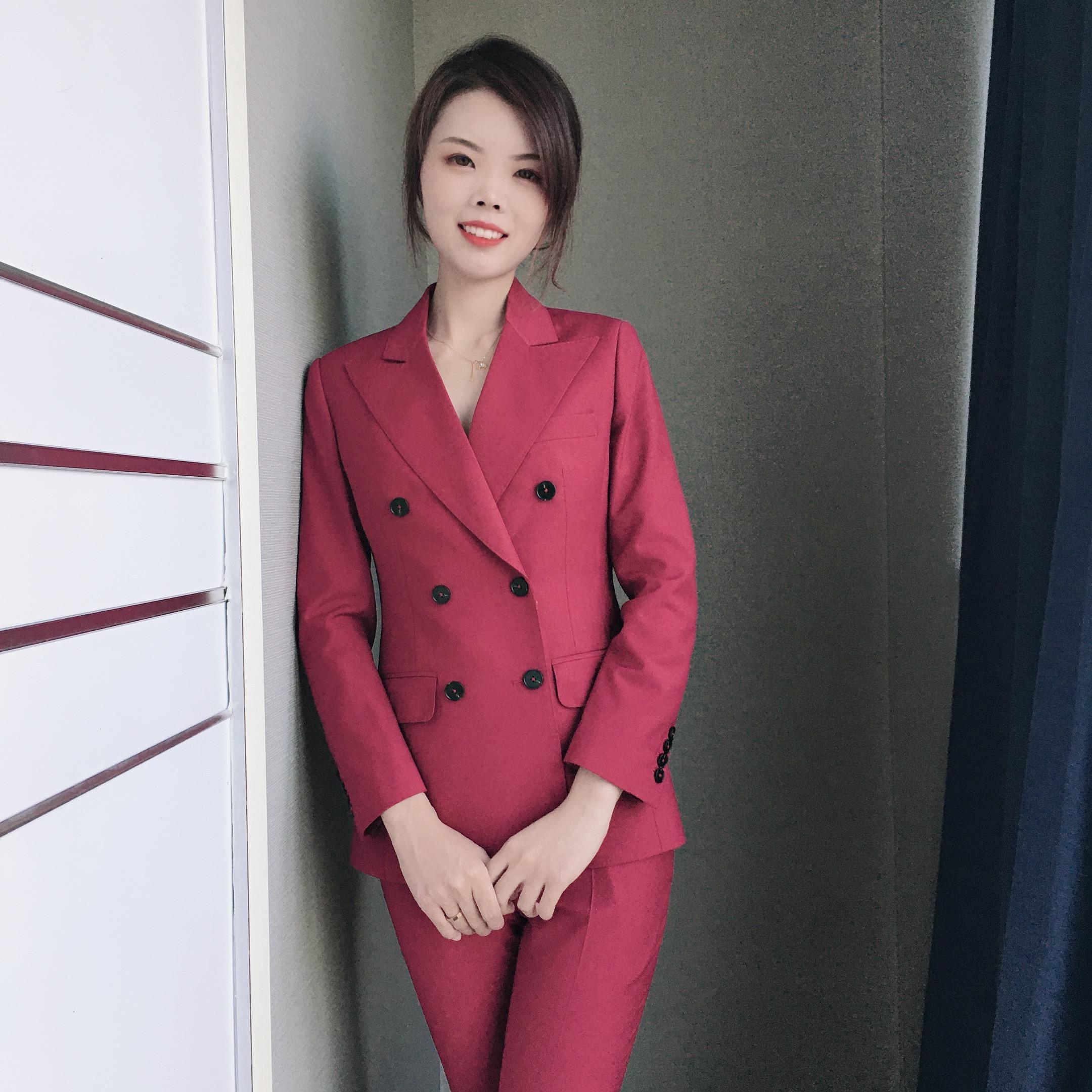 春季通勤常规女士新款酒红色双排扣西装套装收腰西服外套女正装