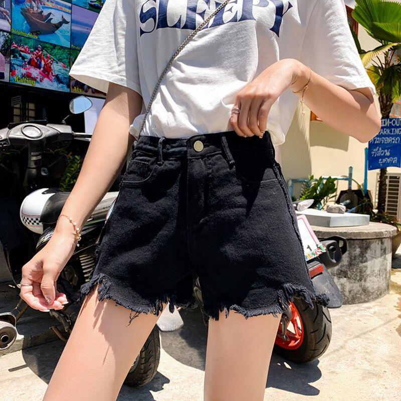 夏季新款韩版宽松不规则毛边热裤校园风含棉大码牛仔短裤女装2020