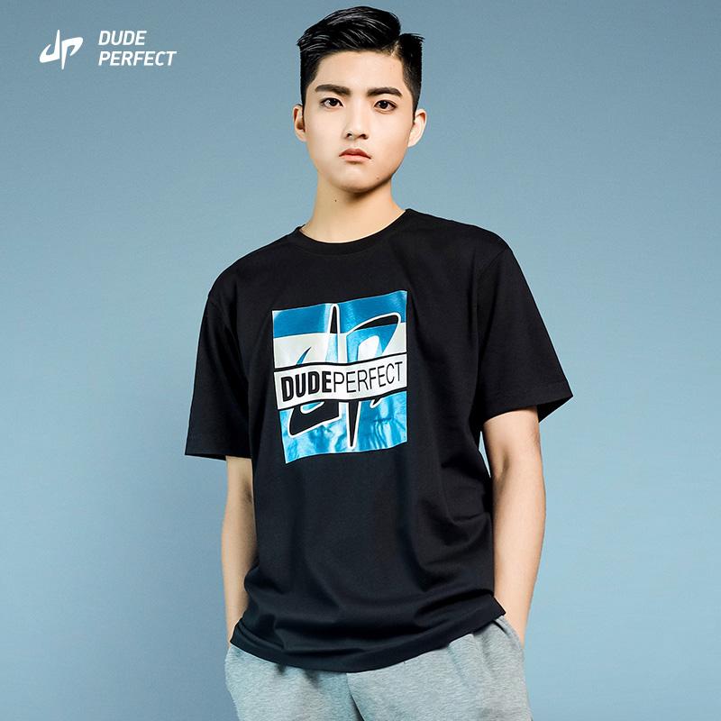 Dude perfect official short sleeve t-shirt mens loose fashion brand fashion 220g heavy mercerized Xinjiang cotton pure cotton