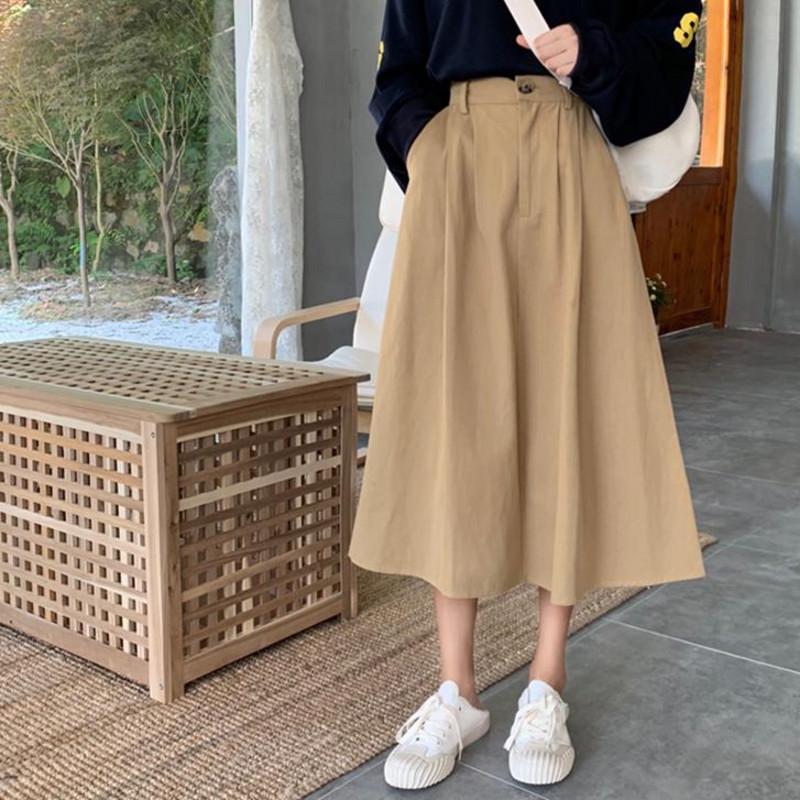 春2020新款口袋工装宽松温柔复古高腰半身裙女中长款a字及膝裙
