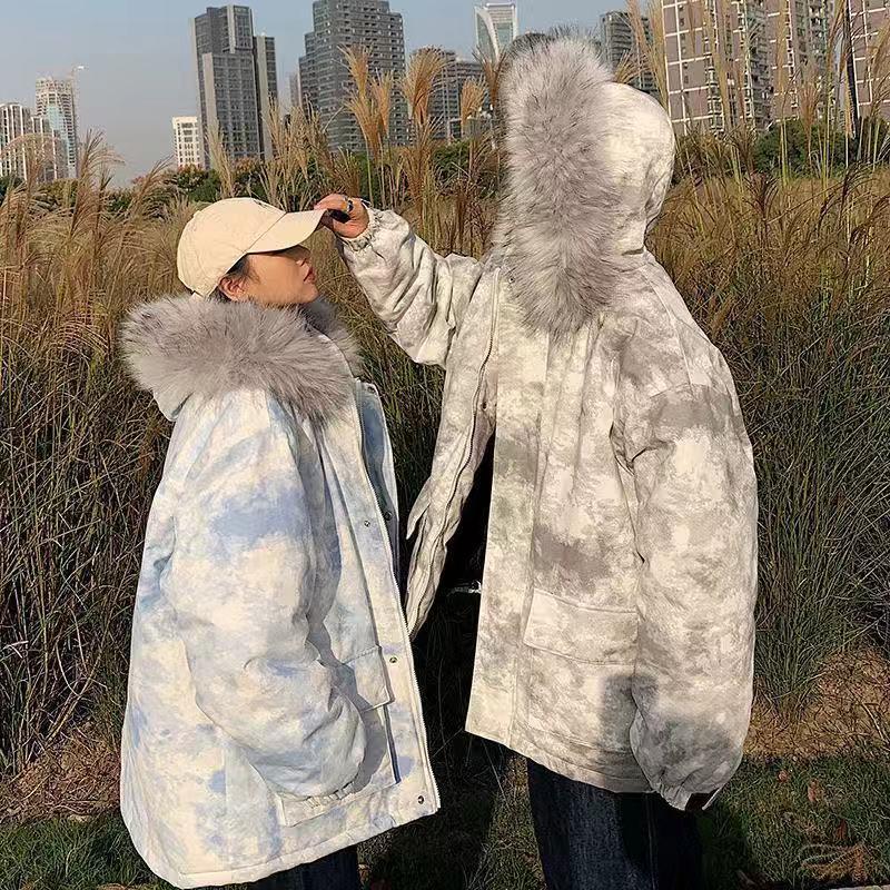 roora情侣装棉衣冬装ins超火大毛领扎染棉服女面包服韩版宽松外套图片