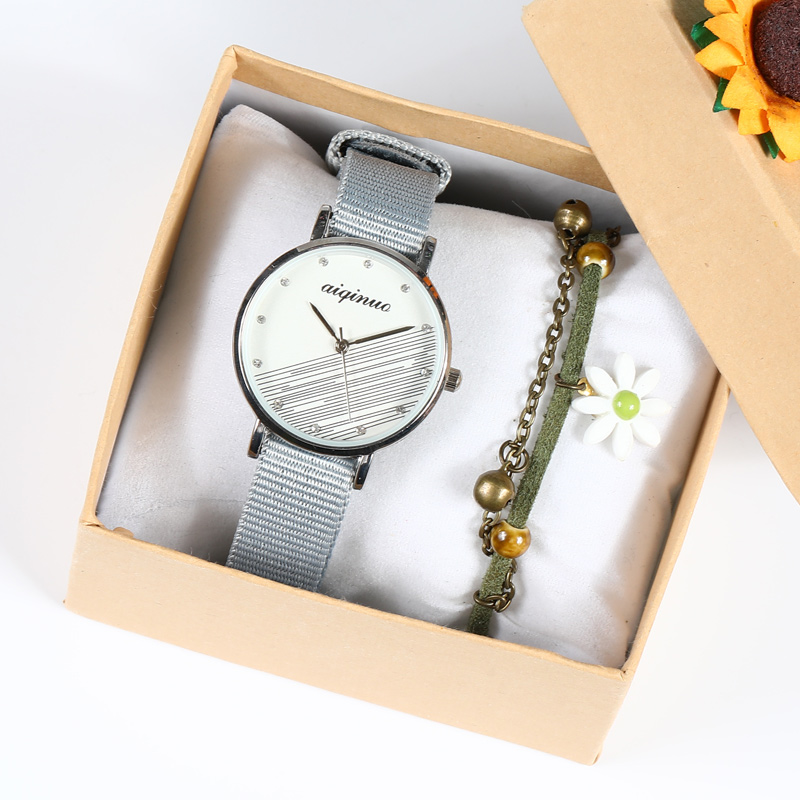 Mori Department literature and Art Watch womens simple temperament ins wind college style retro small ribbon canvas belt female middle school students