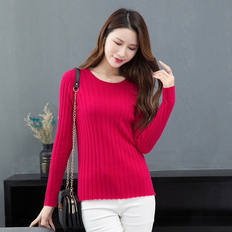 2021 new womens woolen sweater pure wool thin style pit stripe low crew neck for comfort