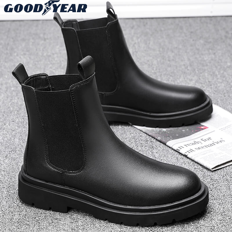 Goodyear Martin boots mens autumn and winter high top Chelsea short boots medium top leather shoes tooling leather boots fashion shoes