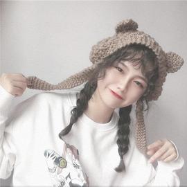 韩风ins可爱少女心猫耳朵耳罩保暖防寒针织毛线系带耳包护耳女冬