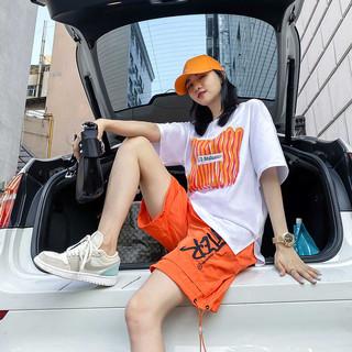 2020短袖宽松潮流T恤卡通印花两件套短裤热裤套装大码减龄夏女装