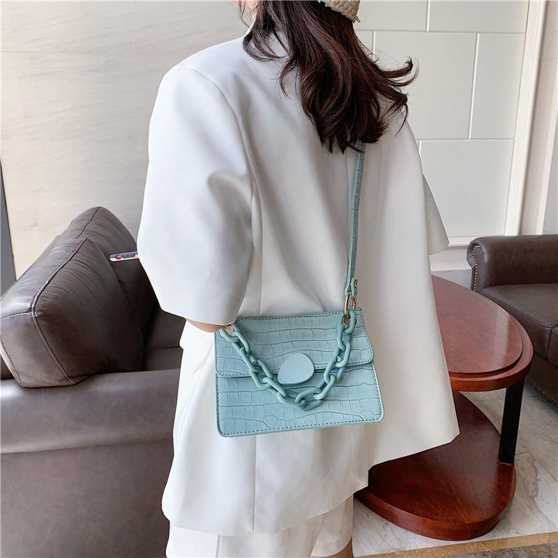 2020 new stone chain handle small square bag