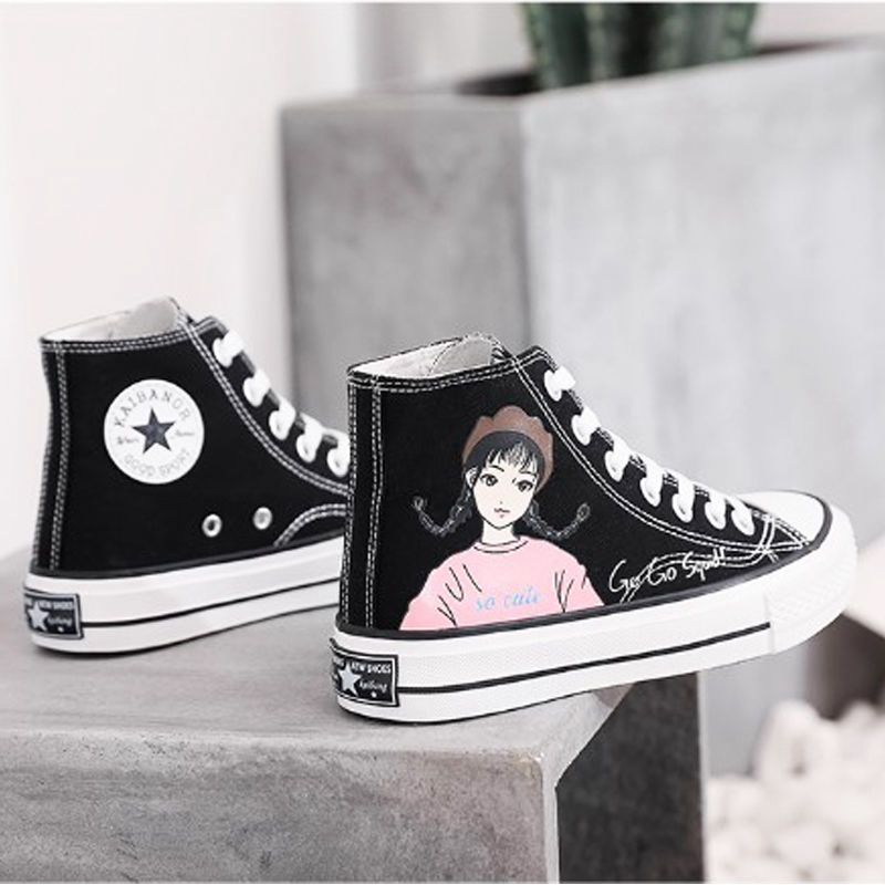 Canvas shoes womens high top printing graffiti cartoon animation shoes spring 2020 womens versatile student net red board shoes