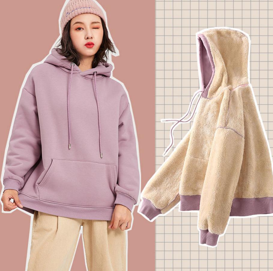秋冬加绒加厚羊羔毛绒INS卫衣女学生韩版潮宽松连帽长袖上衣外套