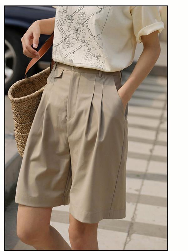 Suit Shorts womens high waist 5-inch Bermuda straight Hong Kong Style loose Pants Khaki 5-inch summer BF style leisure