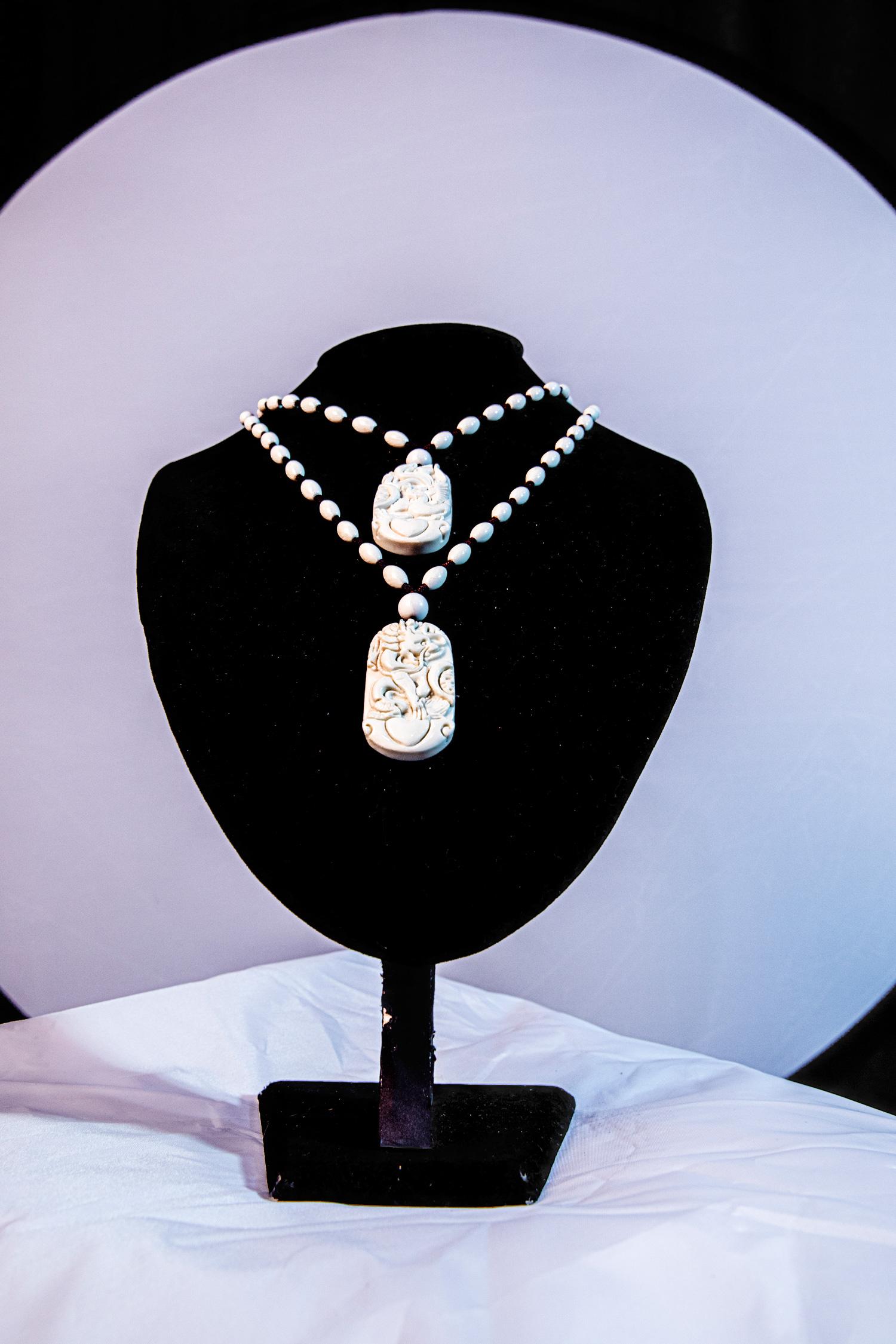 象牙玉丁青特产玉石项链纯天然情侣吊坠龙凤图案定情信物玉器