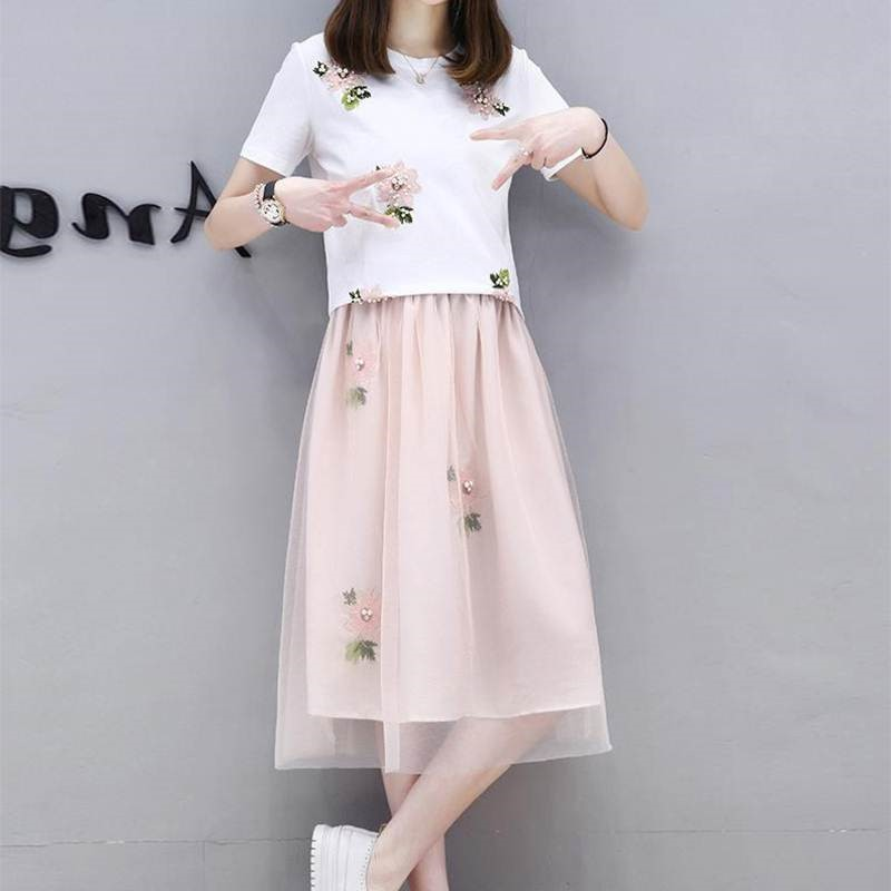 Spring and autumn 2018 new Korean mesh skirt two piece suit dress
