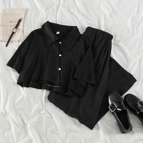 法式复古套装2020夏季流行女装心机洋气t恤高腰阔腿裤网红两件套