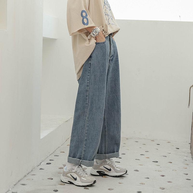 春季2020新款cec裤子直筒裤显瘦韩版牛仔裤学生宽松高腰阔腿裤