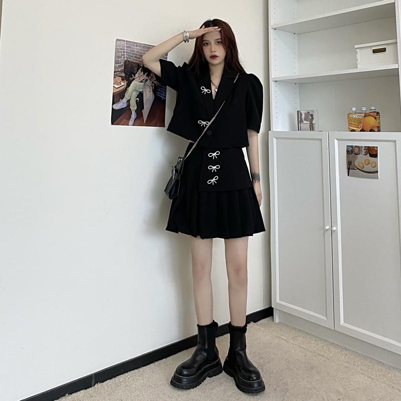 中國代購|中國批發-ibuy99|西装裙|大码女装网红炸街时髦套装2021夏季胖mm洋气减龄西装百褶裙两件套