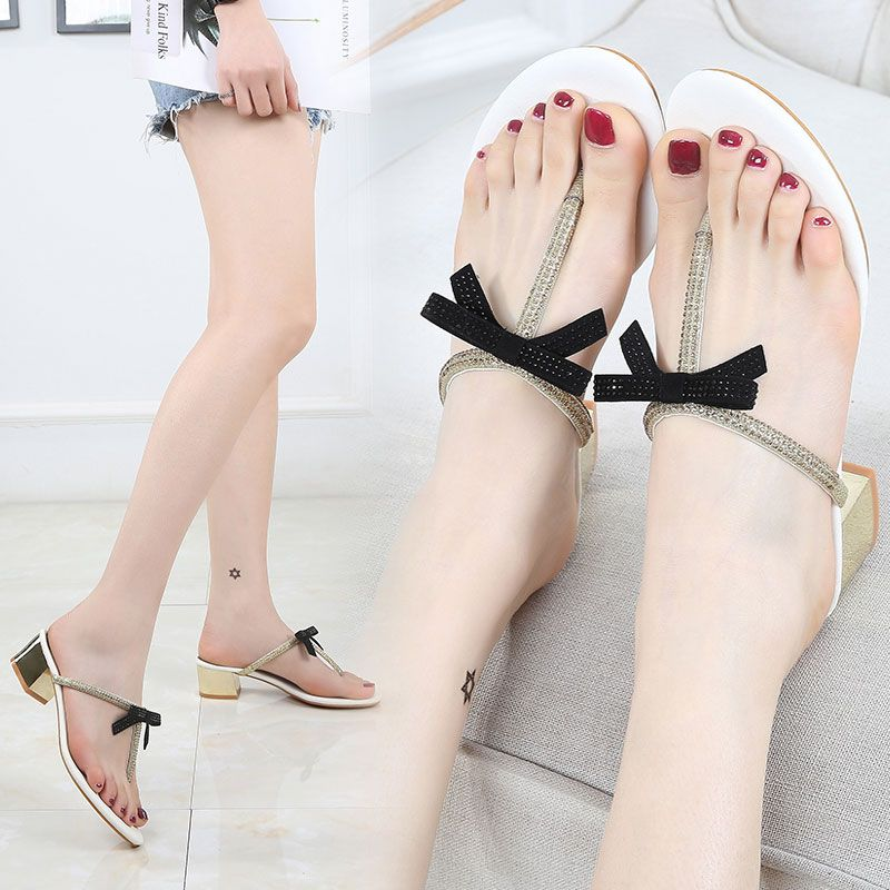 New 2020 Mid Heel bow sandals womens summer and Korean water drill feet clipped slippers T-shape with toe and thick heel sandals