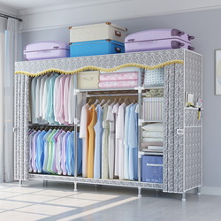 简易衣柜现代简约结实耐用布衣柜钢管加粗加固加厚家用出租房布柜