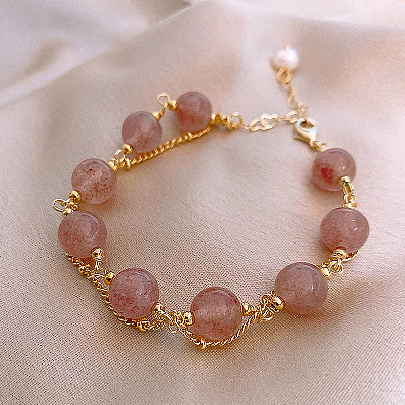 Double layer gold natural stone Pink Crystal multi layer Bracelet strawberry crystal plated real gold bracelet female birthday present