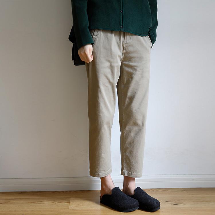 艺间出品韩版宽松弹力纯棉直筒九分裤 2021春新款百搭卡其