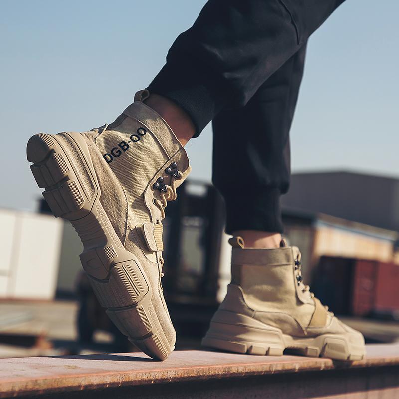 网红马丁靴男冬季英伦风欧美潮流沙漠男靴子韩版中帮高帮加绒男鞋