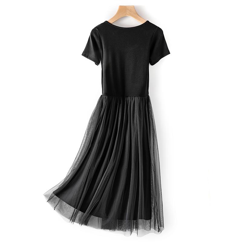 连衣裙女春秋内搭显瘦棉质打底裙子2021年新款外穿短袖网纱长裙潮