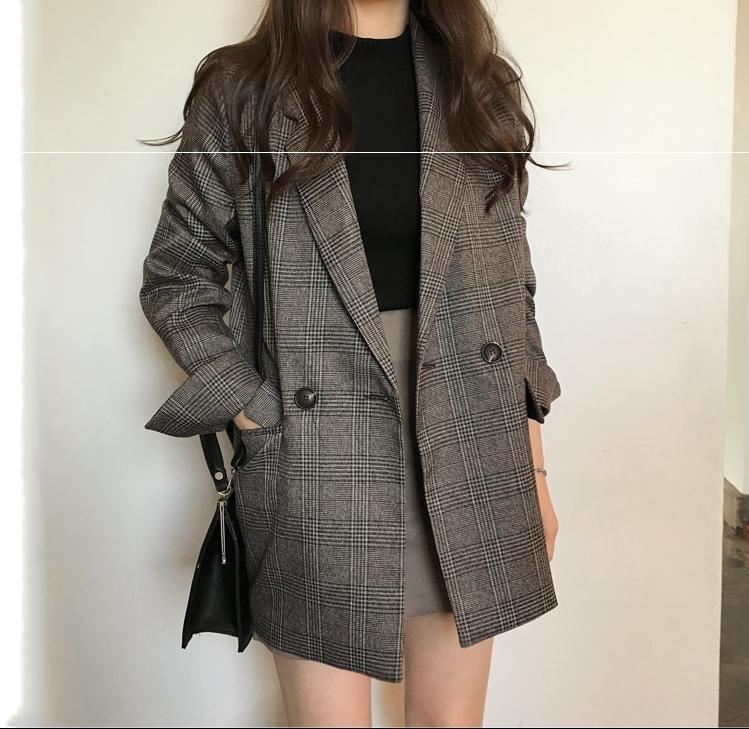 。2020春装新款双排扣西装外套女韩版宽松休闲职业装中长款洋气上