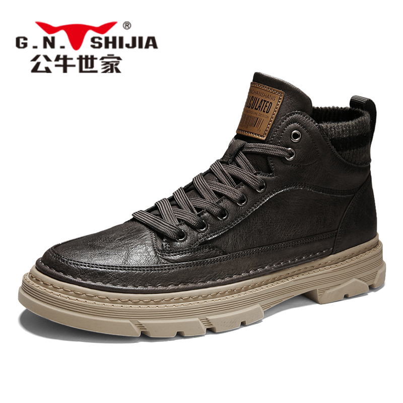 Bull family men's shoes autumn and winter Martin boots men's high-top British style men's boots retro wild men's tooling boots