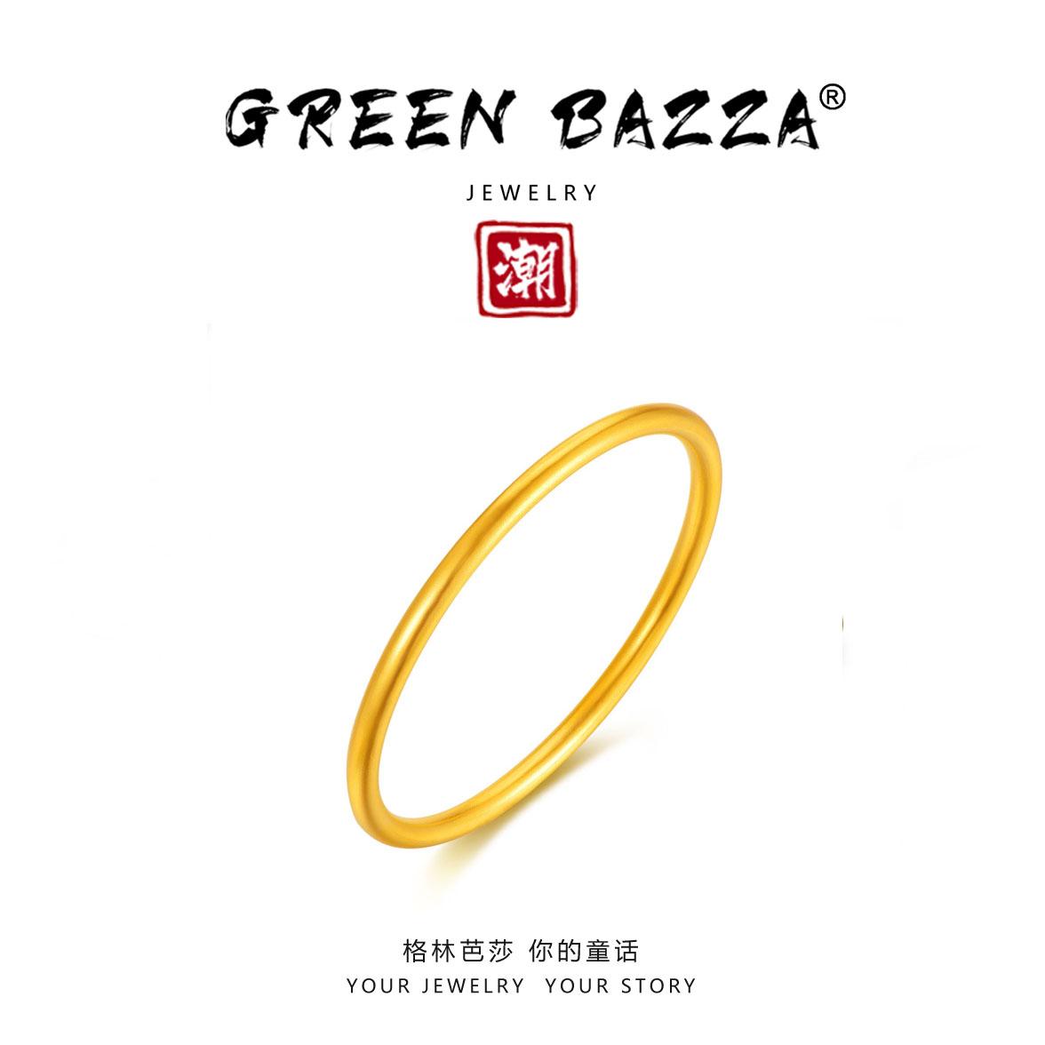 Green bazaar [inheritance. Gufa smooth Bracelet] Guochao gold 999 Gufa gold round tube smooth solid bracelet