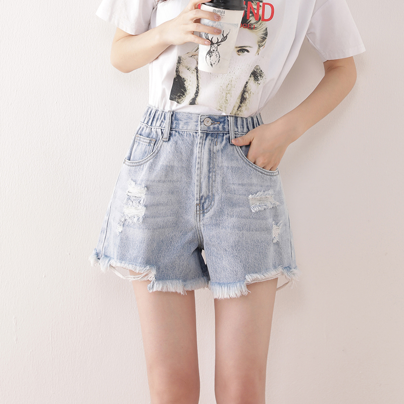 Womens denim shorts with holes, high waist, thin and fashionable in 2020 summer