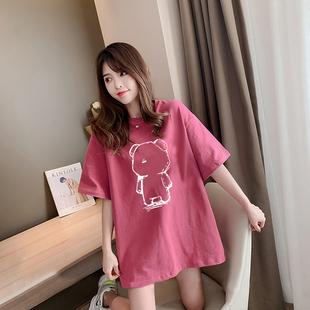 孕妇上衣夏装宽松时尚款打底衫大码夏季连衣裙短袖t恤中长款网红