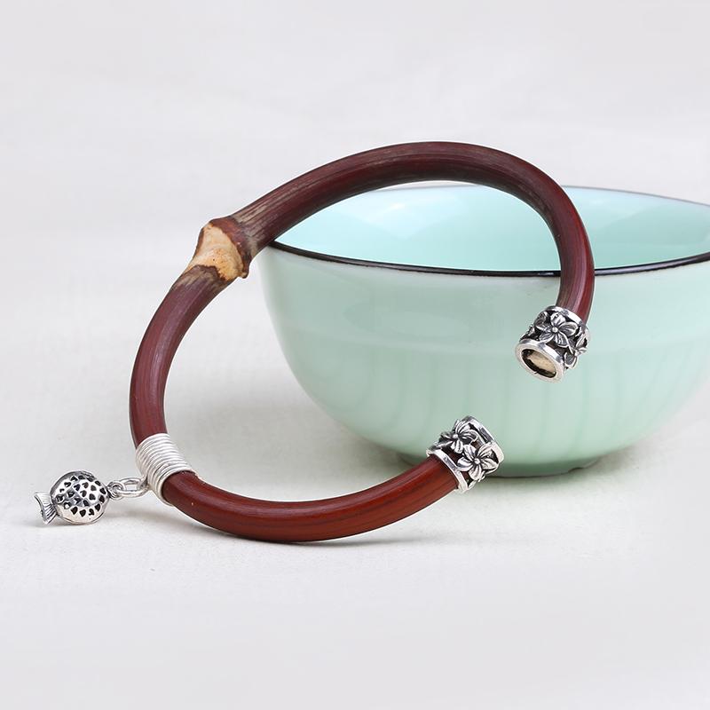 High grade knjewelry / Kuni Tibet Shannan Spatholobus Bracelet medicine rattan wooden Bracelet 925 silver accessories for men and women