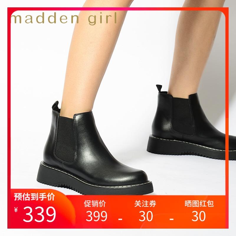 Madden girl fall / winter 2020 new round head thick heel Chelsea boots womens fashion versatile boots kweenn