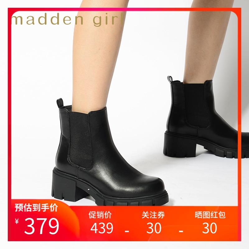 Madden girl autumn / winter 2020 new thick bottomed Chelsea boots versatile short boots womens chimney boots Tessa