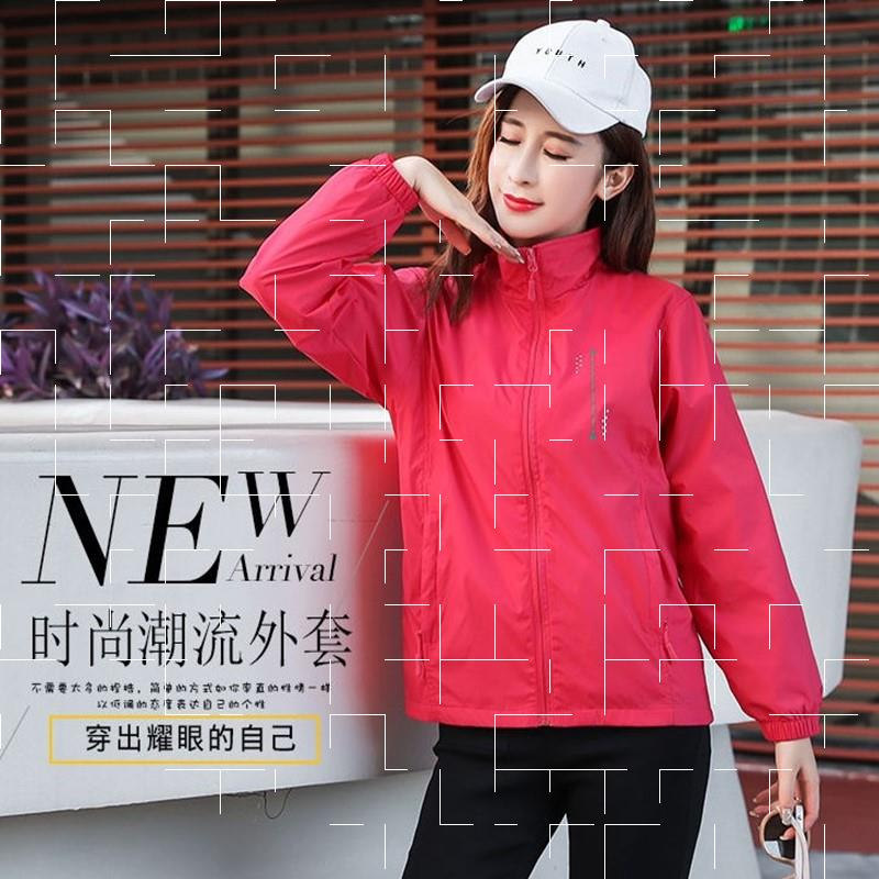 Plush 2020 new autumn and winter windbreaker womens short coat double zipper sports jacket thin breathable work clothes