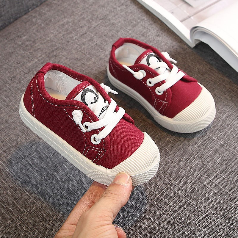 Childrens canvas shoes daughter childrens cloth shoes male 1-3 years old 2 spring and autumn summer baby cloth shoes small white shoes walking shoes board shoes