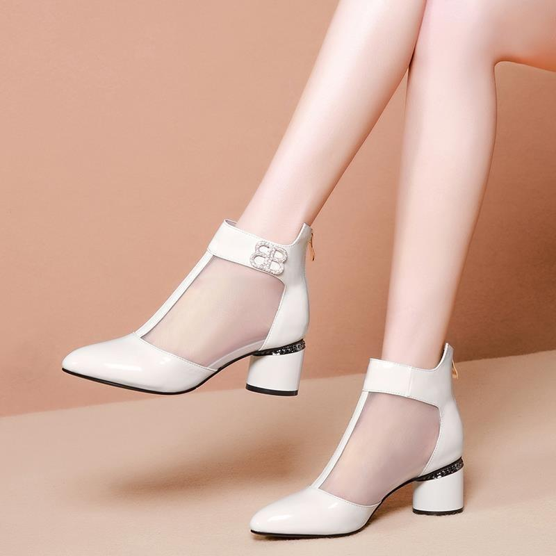 [soft leather] mesh sandals womens thick heel spring and summer 2020 new style net boots womens bag head cool boots medium heel womens shoes