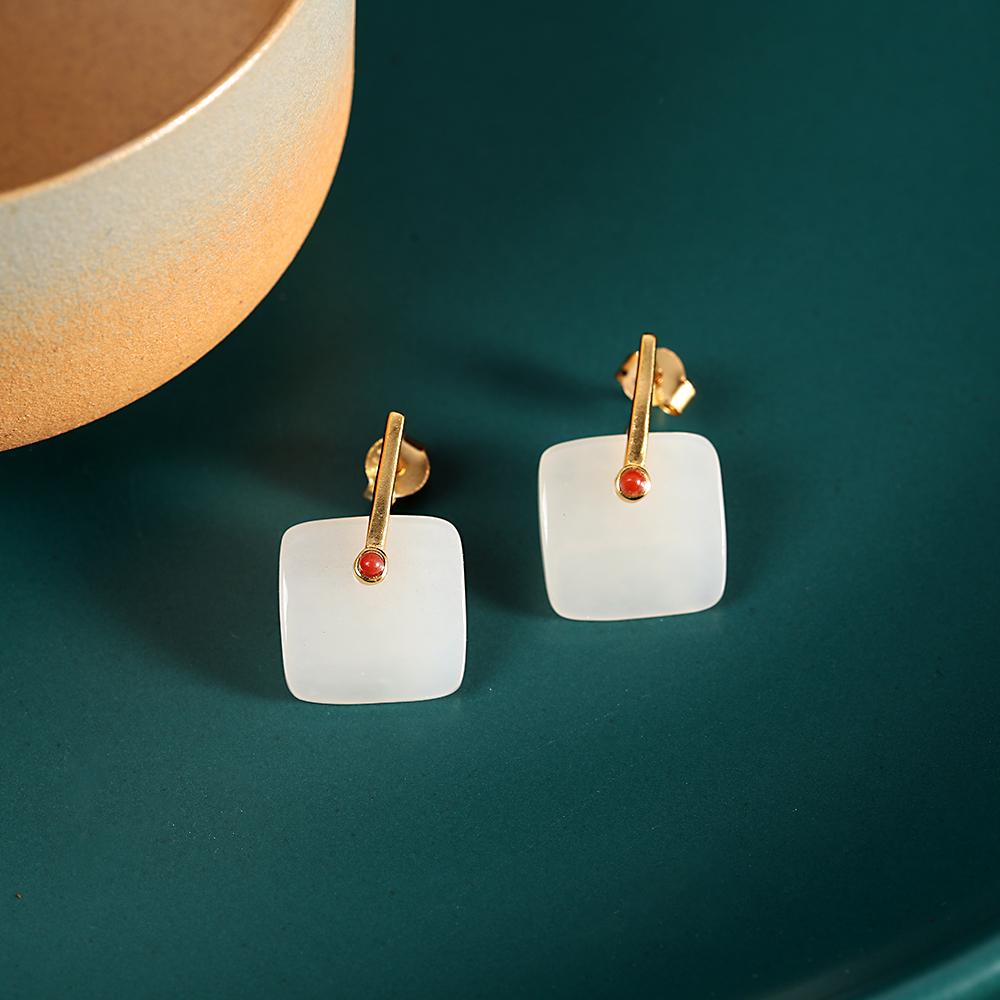 Jewelry fashion simple Earrings S925 Silver Gold Plated womens Hotan jade earrings Square Earrings womens trend