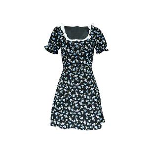 下蛋喵 微胖mm深藍色碎花顯瘦復古少女連衣裙大碼女裝花邊小裙子