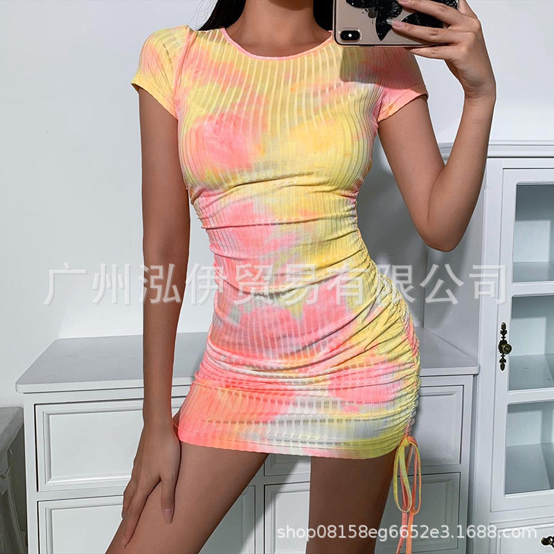 Summer 2020 high waist tie dyed knitted womens side drawstring womens bodysuit short sleeve Street rib Mini Dress