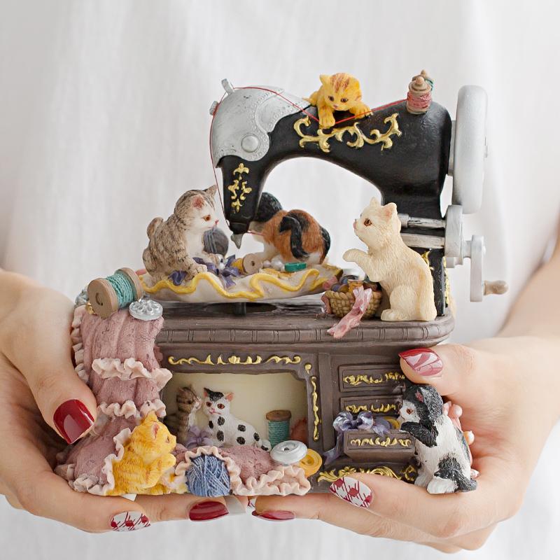 音乐盒八音盒创意猫摆件家居客厅结婚礼物女朋友闺蜜女孩儿童生日