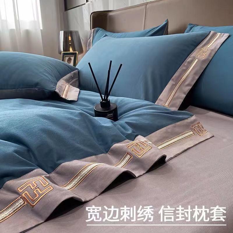 全棉刺绣加厚磨毛四件套100纯棉被套床上用品床单.笠秋冬床品套件