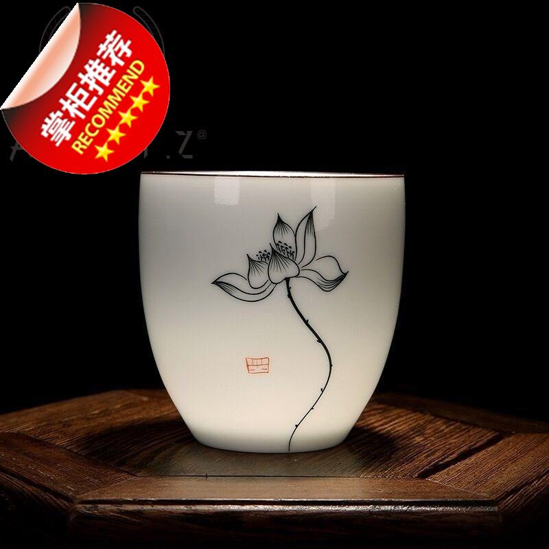 。 Single cup tea art womens tea bowl Zen tea set hospitality Zen creative tea cup with lotus design