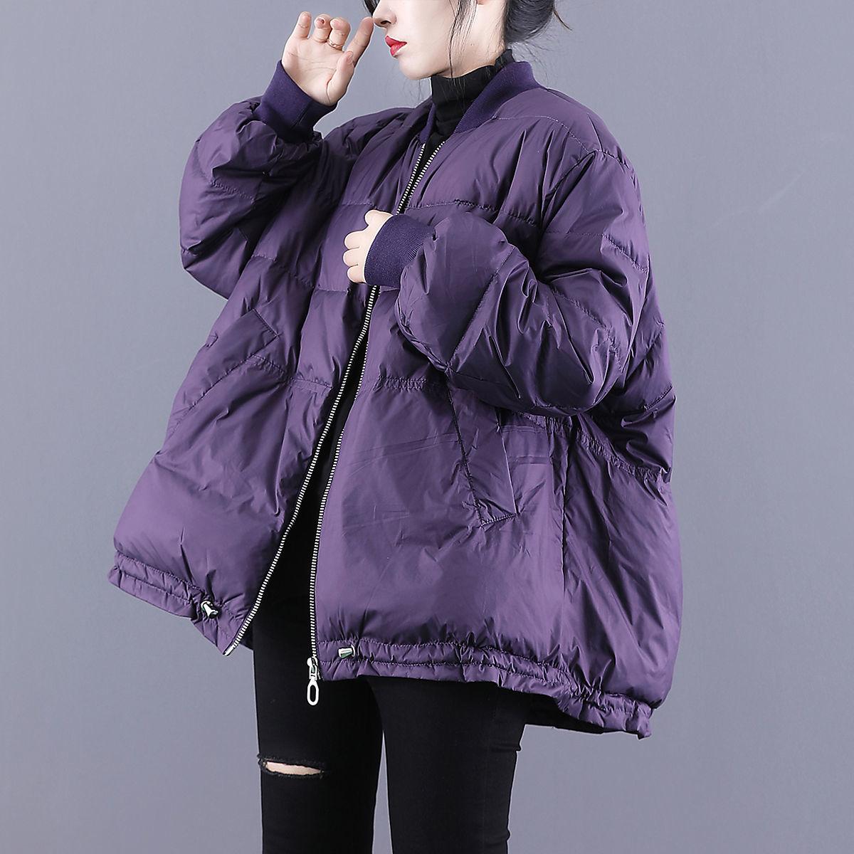 戈米缇羽绒服外套女2021冬季新款宽松大码短款棒球服白鸭绒立领
